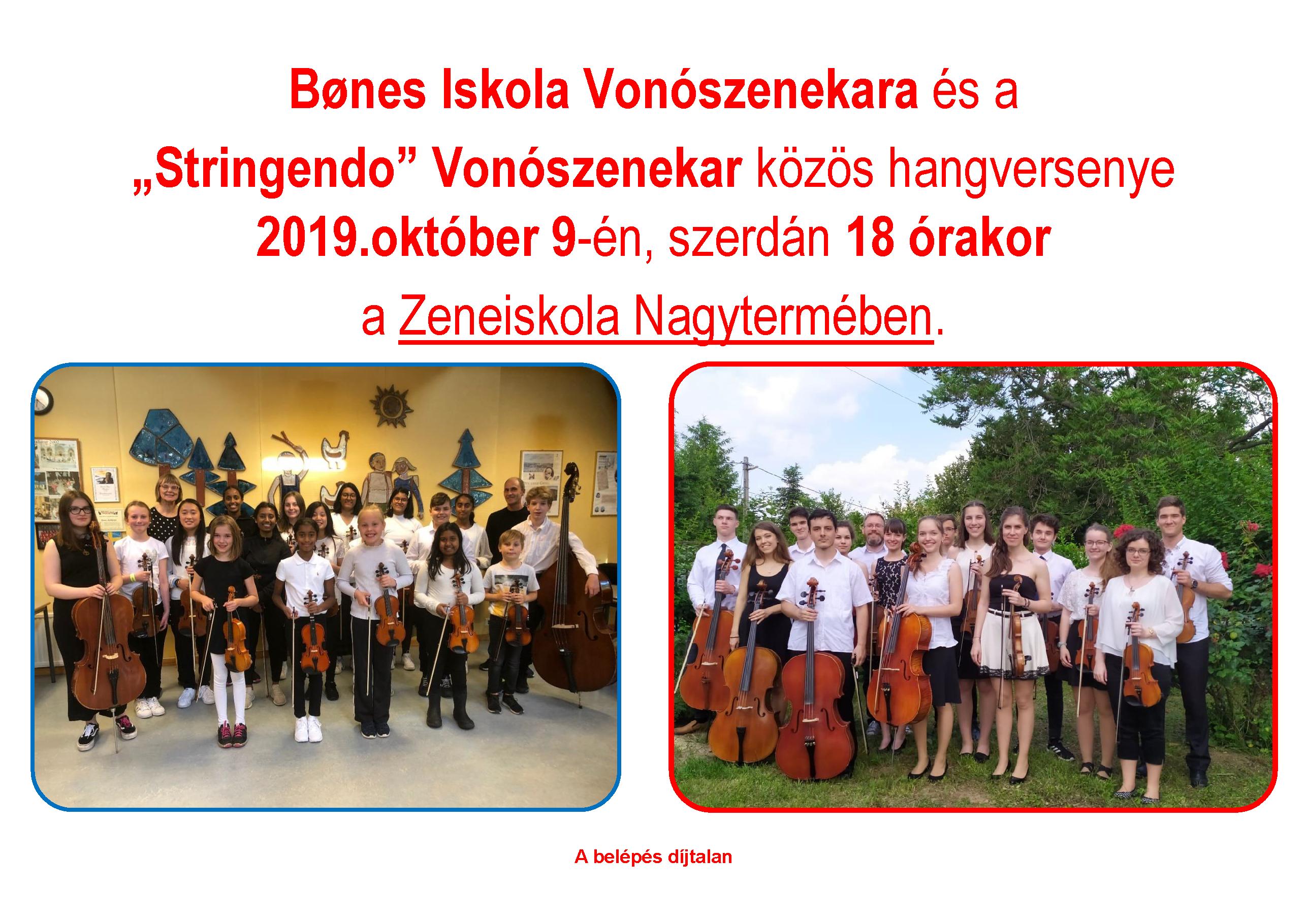"""Bønes Iskola Vonószenekara és a  """"Stringendo"""" Vonószenekar közös hangversenye"""